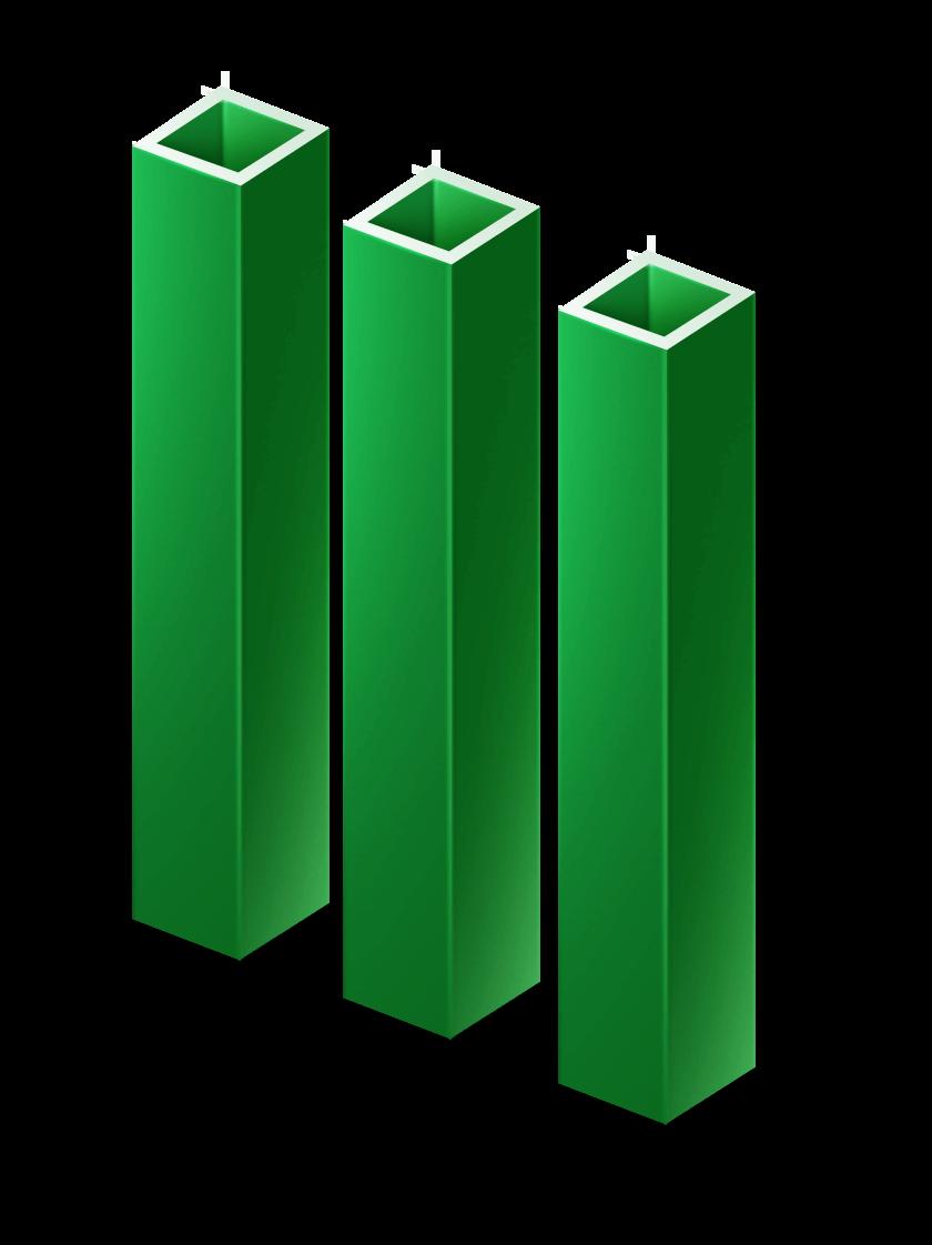 Столб OЦ + ПВХ, 50х50 мм, 2,5 м